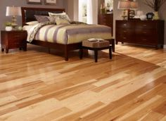 "BELLAWOOD Natural 3/4""x5"" Hickory Caraya spp. 1820 Clear Finish Solid nice wide planks."