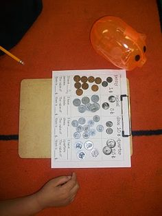 Coin Sort/Count.  Students sort coins from a piggy bank (from Dollar Tree) on the recording sheet above.  They count the coins and add like coins.