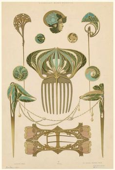 Bijoux Modernes (c. 1900) Art Nouveau jewelry advertising folio by René Beauclair . Designers included André Petitjean, Jules Armbruster, Paul Liénard, Emile Jammes, and Paul Follot.