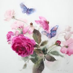 """""""Be together no.7"""" By Phatcharaphan Chanthep  #watercolor #paint #painting #art #artist #butterfly #rose #be #together"""