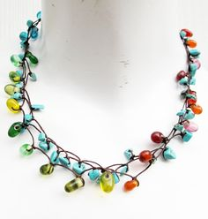 Turquoise Stone Multi Color Glass Bead Multi Strand by Summerwrist, $14.00