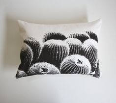 Barrel Cactus Pillow   / Desert Modern / Cacti / Succulent / Decorative Pillow / Black / White / Southwest