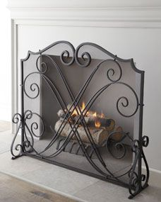 Tuscan Scroll Wrought Iron Fireplace Screen Living at HOME