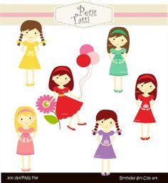 girls clip art , Digital clip art.for all use, Birthday girls , INSTANT DOWNLOAD Digital clip art