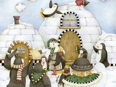 Christmas Story Book : Home for the Holidays ~ artist: Debbie Mumm ~ Polar Christmas ~ Penguins & Snowmen