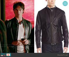 Damon's black leather jacket on The Vampire Diaries.  Outfit Details: https://wornontv.net/61161/ #TheVampireDiaries
