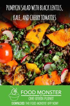 Pumpkin Salad with Black Lentils, Kale, And Cherry Tomatoes! Black Lentils, Pumpkin Salad, One Green Planet, Green News, Vegan News, Eat Seasonal, Winter Food, Dairy Free Recipes, Cherry Tomatoes