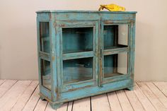Reclaimed Vintage Distressed Indian Industrial Jodhpur Blue Glass Storage Cabinet Curio Media Console Buffet Sideboard