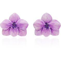Sabbadini White Gold and Amethyst Flower Earrings ($4,200) ❤ liked on Polyvore featuring jewelry, earrings, pink, pink flower earrings, pink amethyst jewelry, white gold amethyst earrings, flower jewellery and flower jewelry