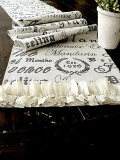 Table runner shabby chic wedding table with French script and ruffles ,Handmade in the USA