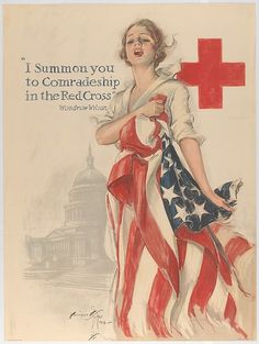 Poster, 1918. Harrison Fisher artist. American Red Cross art work petitioning others to help with the war effort.