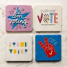 Feel like you might need a few drinks between now and Election Day? Our vote coaster set can help. Get Out The Vote, Vote Sticker, Got Party, Protest Art, Housewarming Present, Wolf Love, Stone Coasters, Drink Coasters, Coaster Set