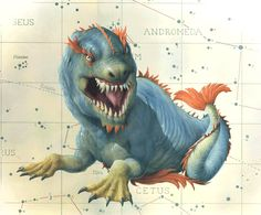 Cetus- Greek myth: a whale or dragon fish that was sent to eat andromeda by Poseidon, but then slain by Perseus.