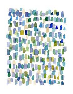 Regen der abstrakten Malerei Aquarellzeichnung blue von LouiseArtStudio 2089