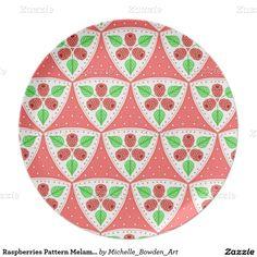 Raspberries Pattern Melamine Plate