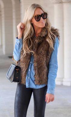 how to style a fur vest : bag denim shirt leather pants Plaid Fashion, Tomboy Fashion, Fashion Outfits, Fashion Clothes, Fur Vest Outfits, Casual Outfits, Office Outfits, Western Outfits, Fall Fashion Trends