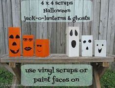My Repurposed Life 4x4 posts into Halloween Jack-o-Lanterns and Ghosts...great porch decor!