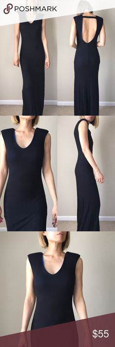 "Supreme shoulder BLACK maxi dress. With lining Androgynous and chic. Line and padded shoulder dress. A structured maxi dress full length .well made top quality.98%rayon 2%spandex .S:Long; 60"" bust 16"" w: 15"" M; Long 61"", bust, 17"" w: 16 sexy KC Dresses Maxi"