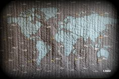 My second quilting project: World Map Baby Quilt  #quilt #applique #map