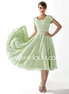 This dress suits Sue's vintage theme.  But not really for me.  Mother of the Bride Dresses - $123.09 - A-Line/Princess Scoop Neck Tea-Length Chiffon Charmeuse Mother of the Bride Dresses With Ruffle Beading (008005918) http://jenjenhouse.com/A-line-Princess-Scoop-Neck-Tea-length-Chiffon-Charmeuse-Mother-Of-The-Bride-Dresses-With-Ruffle-Beading-008005918-g5918