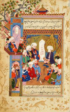ḤusĀm Al-Dīn Chelebi, in a Dream, Sees the Prophet MuḤammad Reading Rūmī's Masnavī | Tarjuma-i Thawāqib-i manāqib (A Translation of Stars of the Legend), in Turkish | Iraq, Baghdad | 1590s | The Morgan Library & Museum