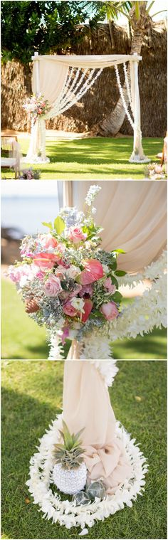 Tropical wedding arbor, white painted pineapples, pink roses, draped fabric, outdoor Hawaiian wedding ceremony, white leis // Joanna Tano Photography