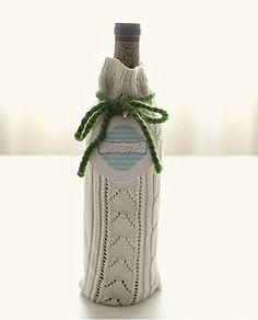 Image detail for -Cute DIY Sweater Wine Bottle Gift Wrap (via greylikesweddings )