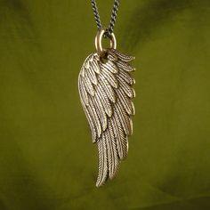 Angel Wing Necklace Bronze Angel Wing Pendant on Gunmetal Chain - Angel Wing… Angel Wings Jewelry, Angel Wing Necklace, Angel Wing Ring, Jewelery, Jewelry Necklaces, Jewelry Making Classes, Chains For Men, Bracelets For Men, Women Jewelry