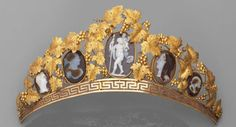 Cameo tiara with yellow gold vines and leaves. Early 1800s.   Five cameos in three colors of agate feature profiles or characters in the ancient style. (via Alain Truong)