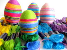 Embroidery thread eggs: wrap thread around styrofoam or paper mâché eggs covered in glue or mod podge.