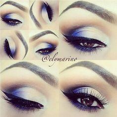 Pop of blue smokey eye