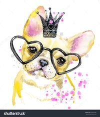 Cute Dog. Dog T-shirt graphics. watercolor Dog illustration background. watercolor funny Dog for fashion print, poster for textiles, fashion design. French Bulldog