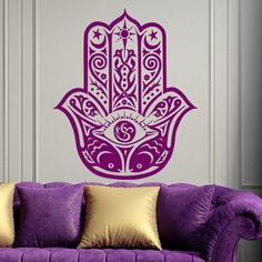 Hamsa Wall Decal Art Decor Decals Sticker India Amulet Protection Yoga Buddhism Hand Yin Yang Eye of Fatima Bedroom Dorm Mural (M1301)