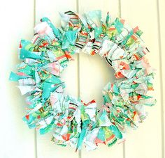 Fabric wreath or take one of your favorite shirts thats too small, big, or out of style