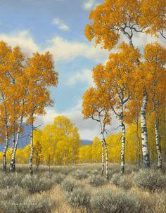 """""""Aspens""""; Artist Doug Miller;  21""""w x 25""""h - framed; Oil on Linen; Available at Filsinger Gallery - Palm Desert, CA www.filsingergallery.com"""