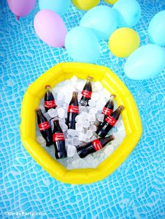 Pool Party Ideas with a DIY Coat Float Station Bar - BirdsParty.com