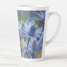 Sea Holly 'Big Blue' Tall Latte Coffee Mug - Would make a lovely gift!  #mugs #coffeemugs #lattemugs #coffee #latte #gifts #giftsforher #zazzlemade (affiliate link)
