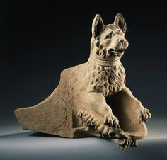 Roman Waterspout in the form of a hound, early 1st century A.D. Terracotta