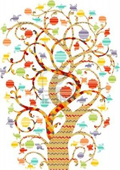 Ornate Tree drawing with colorful pattern fill and flower blossoms
