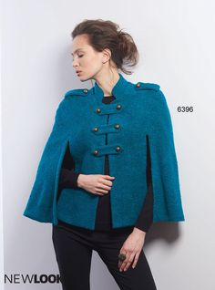 This military style cape is a stylish statement piece to wear during cooler weather. NewLook pattern 6396