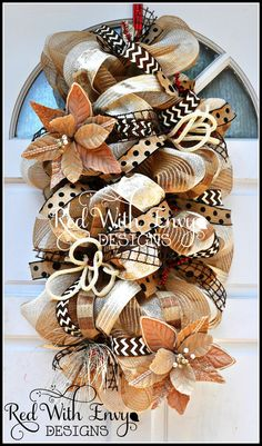 This beautiful versatile Country Chic Fall & Christmas piece can be used as a Door Swag, Table Centerpiece, or a Mailbox Swag. It is simply