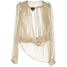 Just Cavalli Blouse (1135010 PYG) ❤ liked on Polyvore featuring tops, blouses, beige, white frilly blouse, beige blouse, long sleeve silk blouse, white blouse and ruffle blouse