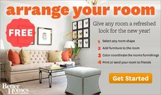 Free online program from Better homes and Garden -Design and arrange a room online. select any room shape, add furniture, color coordinate rooms furnishings, print or send the room you created.