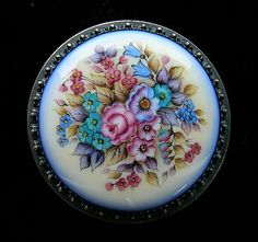 Round Floral  Box Russian Enamel by RussianRostovJewell on Etsy, $115.00