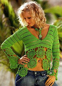 Green cropped top with flowers - Kaelee might like it if it were black. :)