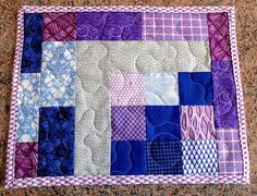 Patchwork quilted mug rug modern placemat candle mat purple