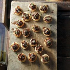 Based on the classic French caramelized-onion tart with olives and anchovies, these little two-bite hors d'oeuvres pack a flavorful punch.