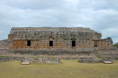 Large temple covered with Chac masks at Kabah, Yucatan, MX