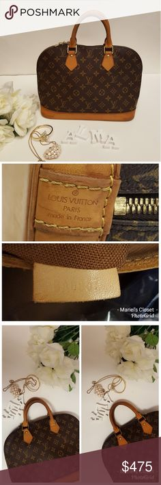 Authentic Louis Vuitton Alma Handbag Pre-owned.  In good condition.  There are some normal signs of wear  Outside: suntanned,  minor watermarks/stain on the vachetta, handle and  bottom. rubbed on the edges.  Patina on the handle.  Minor metal tarnished.  Nothing significant  Inside: pen/ink marks. Nothingsignificant  Odor: no offensive odor.  Zipper: zipper working properly Louis Vuitton Bags
