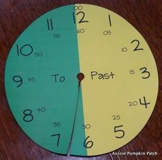 """telling time. But I'd write """"till"""" instead of """"to""""....  wonder if I could use some colored saran wrap on the actual classroom clock..?"""